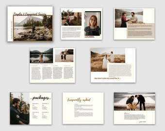 Photographer Couples & Engagement Sessions Price Guide Marketing Template for Photoshop and Indesign