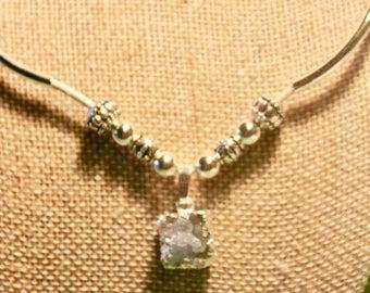 Blue celestine crystal necklace