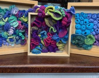 Free Form Crochet Box Wall Hanging