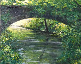 16x12 original oil fine art landscape forest scene with creek