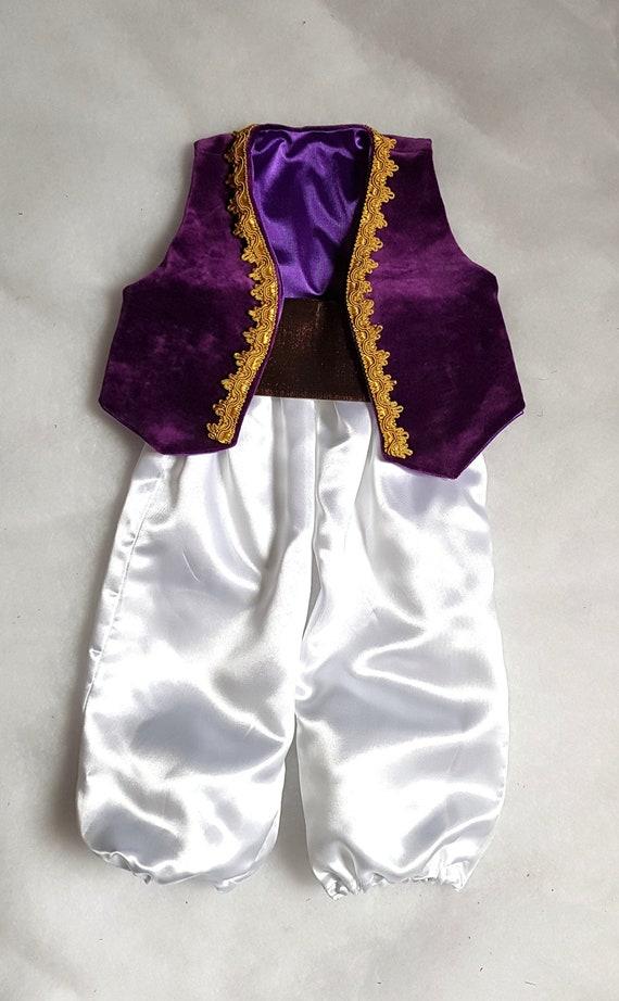 Costume Aladino in velluto e raso, gilet pantaloni fusciacca, da 0 a 3  anni, Genio Lampada, Regalo San Valentino Disney principe orientale