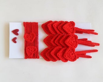 Garland of 15 red crochet hearts, crochet bunting, heart banner crochet garland Valentine decoration crochet ornaments string hearts garland