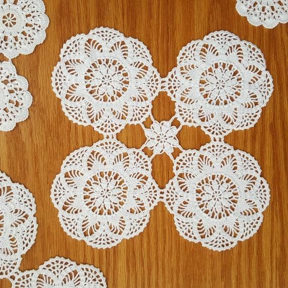 Zierliche weiße Spitzendeckchen häkeln Hochzeit   Etsy
