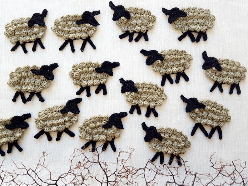 17b3871afe71a4 Crochet sheep applique animals crochet charms bulk of lamb