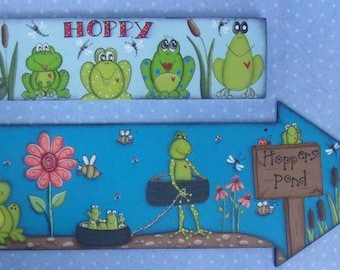 Frog Epattern Froggie Tole Painting DIY Hoppers Pond Painting Pattern Pond Make it Yourself Dragonfly Fly Ladybug Flowers Hoppy Frog Art Fun