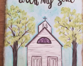 Church Hand Painted Canvas Quote Christian Art Home Decor Wall Hanging Bible Gift Pastor Wedding Anniversary Primitive Farm House Decor Art