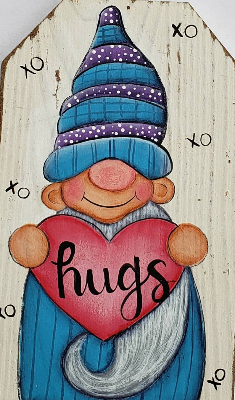 Gnome Painting Pattern Gnome Kiss Pattern Whimsical Epattern Heart Small Gift Hostess Gnome Collector Funny Wedding Gift Ornament Art DIY