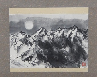 Snow mountain and the moon, Hanging scroll, Original Black Ink Wash Painting Sumie, Ukiyoe, Home Decor, Interior, Japanese Traditional Art