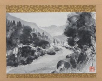 Landscape, Hanging scroll, Original Black Ink Wash Painting Sumie Suibokuga, Ukiyoe, Home Decor, Interior, Japanese Traditional Art
