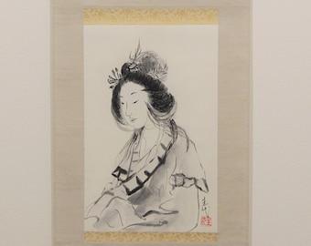 Japanese Beauty, Hanging scroll, Original Black Ink Sumie Suibokuga Painting, Ukiyoe, Home Decor, Interior, Japanese Traditional Art