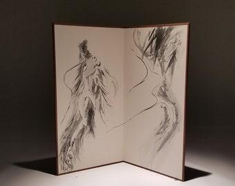 Dragon, Folding Screen, Original Black Ink Sumie Suibokuga Painting, Ukiyoe, Home Decor, Interior, Japanese Traditional Art