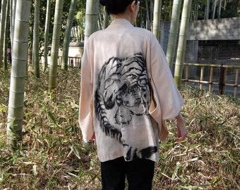 Haori Kimono Coat / Tiger / Unisex / Sumi-e Handpainted / vintage original painting wearable art