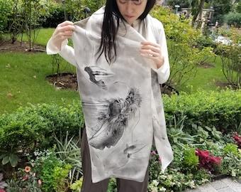 "Reversible Silk Shawl, Sumi-e Hand Painted, Antique Kimono Silk. ""Dragon & Weeping Cherry Blossom"", 13.9X81.2in. (35.5X206.5cm)"