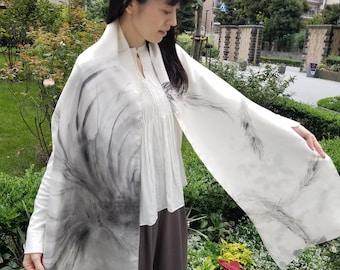 "Reversible Silk Shawl, Sumi-e Hand Painted, Antique Kimono Silk. ""Phoenix & Rose"", 14.1X82.6in. (36X210cm)"