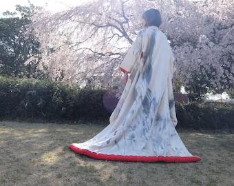 KIMONO Japanese Wedding / Dress Robe Gown / Authentic Sumi-e Handpainted / Geisha Uchikake Vintage Original Painting Wearable Art