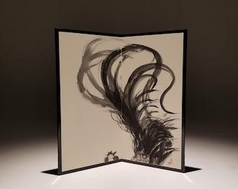 Rooster, Folding Screen, Original Black Ink Sumie Suibokuga Painting, Ukiyoe, Home Decor, Interior, Japanese Traditional Art