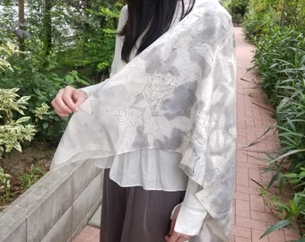 """Sumi-e Hand Painted, Antique Kimono Silk, Sewn in Japan. Gift for Her. """"Rose"""" 40.5X29.3in. (103X74.6cm)"""