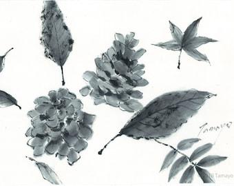 Autumn Leaves and Pine Cones, Original Black Ink Sumie Suibokuga Painting, Ukiyoe, Home Decor, Interior, Japanese Traditional Art
