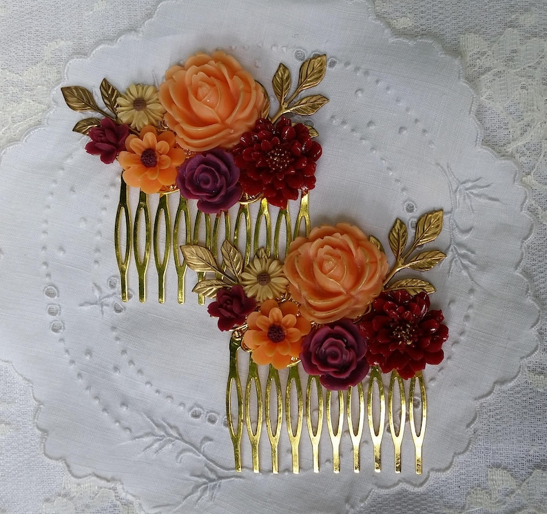 BRIDAL BRIDESMAIDS Hair Combs Collage Orange Red Plum Wine Gold Sunflower Daisy Vibrant Fall Wedding Rustic Chic Woodland Vintage Style