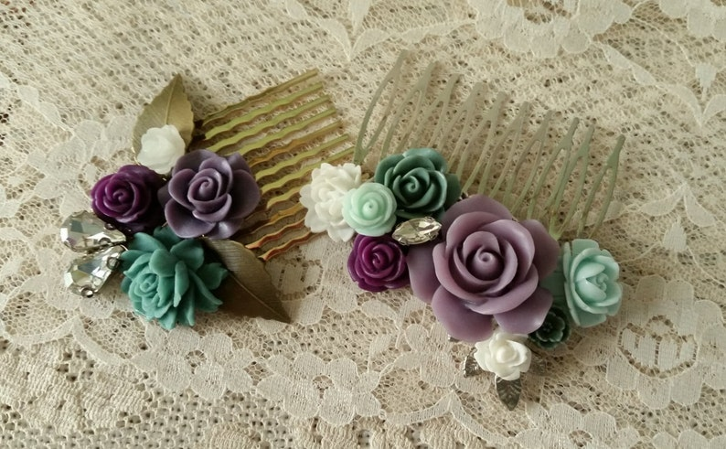 BRIDAL HAIR COMB Collage Assemblage Purple Jade White Turquoise Crystals Vintage Style Elegant Rustic Chic Bride