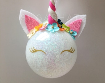 unicorn party favors personalized christmas ornament unicorn ornament christmas gift christmas decoration glitter unicorn cyber monday - Unicorn Christmas Decorations