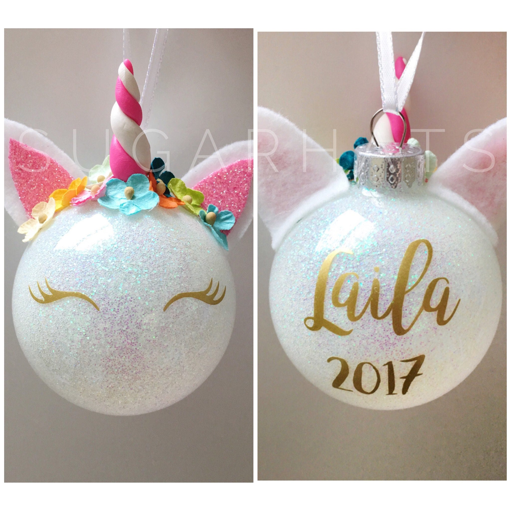 unicorn christmas ornament personalized christmas ornament unicorn ornament christmas gift glitter unicorn - Unicorn Christmas Decorations