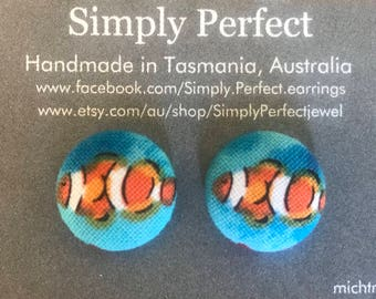 Clownfish Fabric Button Stud Earrings