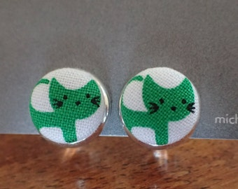 Cat Stud or Clip On Earrings for Kids or Adults