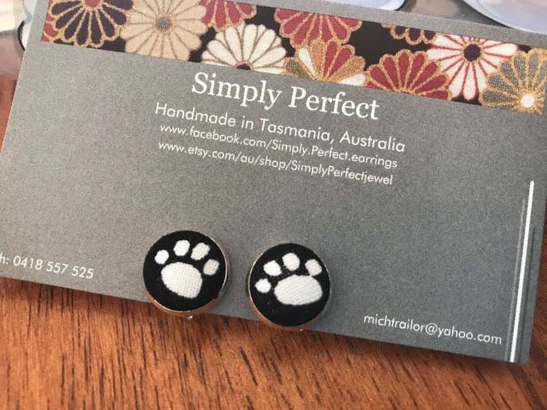 Paw print fabric button clip on or stud earrings