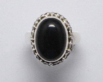 Black Onyx ring - Black stone ring - Black Onyx Ring - Cleopatra  - Black Onyx and 925 Silver ring