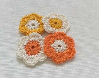Set Of 4 Handmade Crochet Flowers