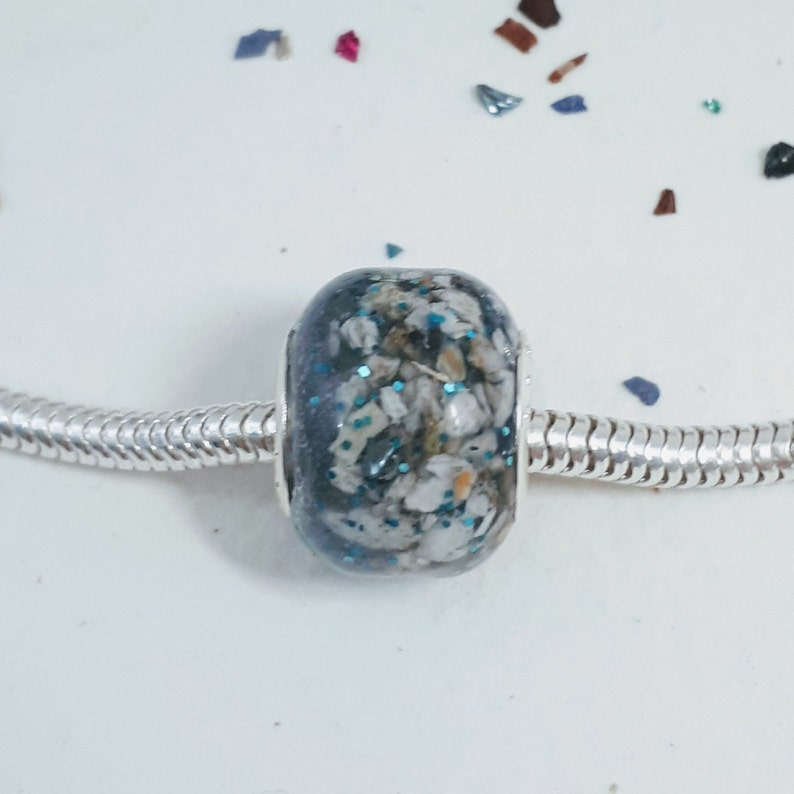 pet ashes bead Cremation bead cremation ashes charm Cremation Full ashes bead with pet ashes and glass shards