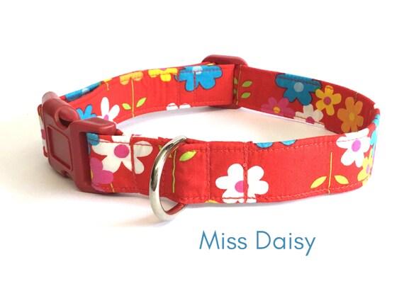 Fleur d'été rouge, fille collier pour chien, collier de chien de Marguerite, joli collier pour chien, collier Floral rouge, 20mm - 38mm de large, grand col de race