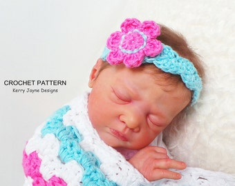 HEADBAND CROCHET PATTERN By KerryJayneDesigns Baby Headband Pattern Flower Headband crochet pattern Crochet Headband pattern 8 sizes Usa Pdf