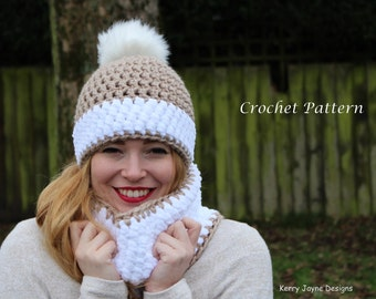 CROCHET HAT and Cowl pattern - Snow bobble effect crochet pattern Winter  hat pattern Bobble hat pattern Crochet Cowl pattern Pom pom hat f6014f957912