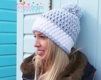 WOMENS CROCHET Hat PATTERN, crochet hat pattern, Winter hat pattern, bobble hat pattern, chunky hat pattern, pom pom hat, Instant download
