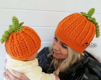 PLAYFUL PUMPKIN hat USA Crochet Pattern Halloween Hat Crochet pattern  Crochet Pumpkin Hat Pattern 6 sizes Baby Toddler Child Teen Women Mens f03fa749324