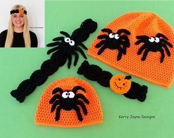 HALLOWEEN CROCHET PATTERN Halloween Hat and headband set Halloween Pumpkin Headband Crochet Pattern Crochet Spider Pattern Comes in 9 sizes!