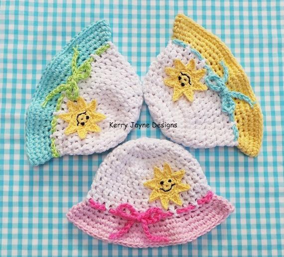 HAPPY SUN HAT Crochet Pattern Baby Sun Hat pattern Cotton  e25cc4a70ce