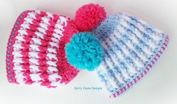 Nordic Ridge Crochet Hat Pattern Child Sizes Bobble Hat Etsy