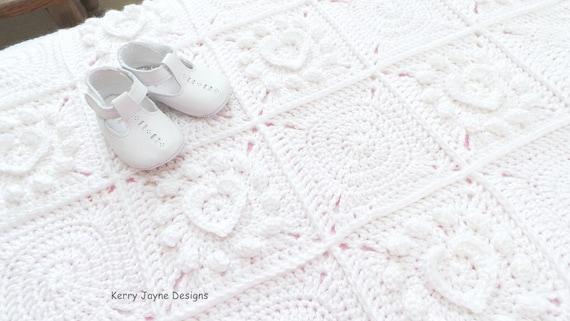 Pure Love Crochet Blanket Pattern Crochet Heart Blanket Etsy