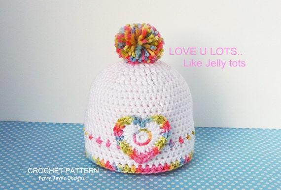 Baby Crochet Hat Pattern Jelly Tots Hat Crochet Pattern Etsy