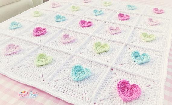 All Heart Crochet Blanket Pattern Baby Blanket Pattern Crochet Etsy
