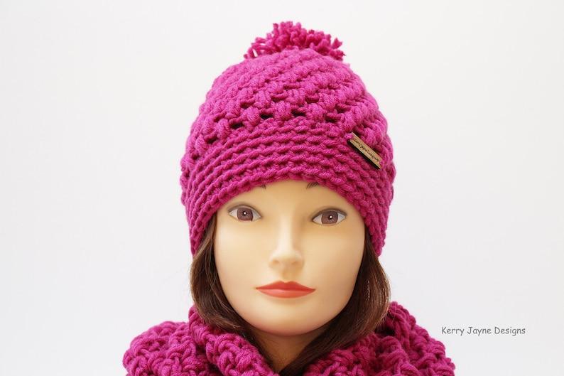 Adult CROCHET PATTERN Rocky Ridge crochet hat and cowl Pattern Puff stitch hat Crochet Pattern Puff stitch cowl Crochet Pattern Sizes Teen
