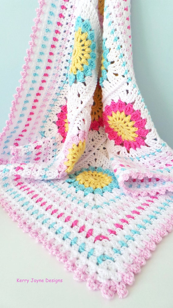 Crochet Pattern Starry Sun Blanket Pattern Granny Square Etsy