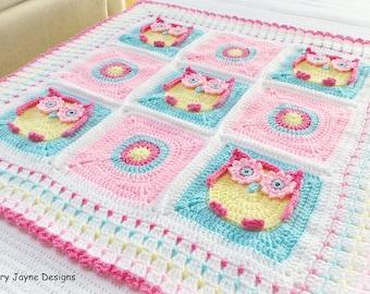 CROCHET BABY BLANKET Pattern - Crochet Pattern - Owl Blanket - Baby Owl Blanket Pattern Crochet Owl Blanket Pattern Crochet Blanket Owls Pdf