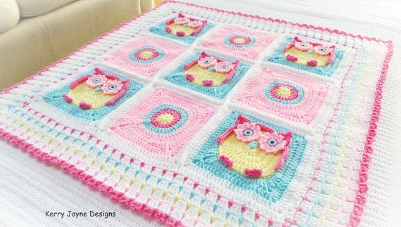 Crochet Baby Blanket Pattern Crochet Pattern Owl Blanket Etsy