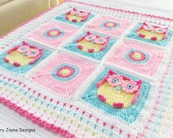 OWL BABY BLANKET Pattern  Kerry's Owl Blanket - Owl Blanket Crochet Pattern, Owl Afghan Pattern Newborn Blanket Pattern Baby Pattern Owls