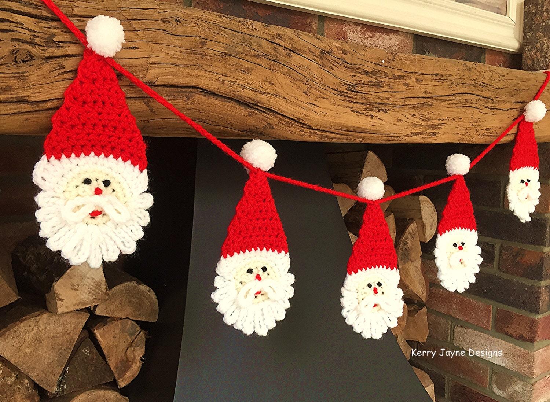 FUN CHRISTMAS CROCHET Pattern Chunky Santa Bunting Pattern | Etsy