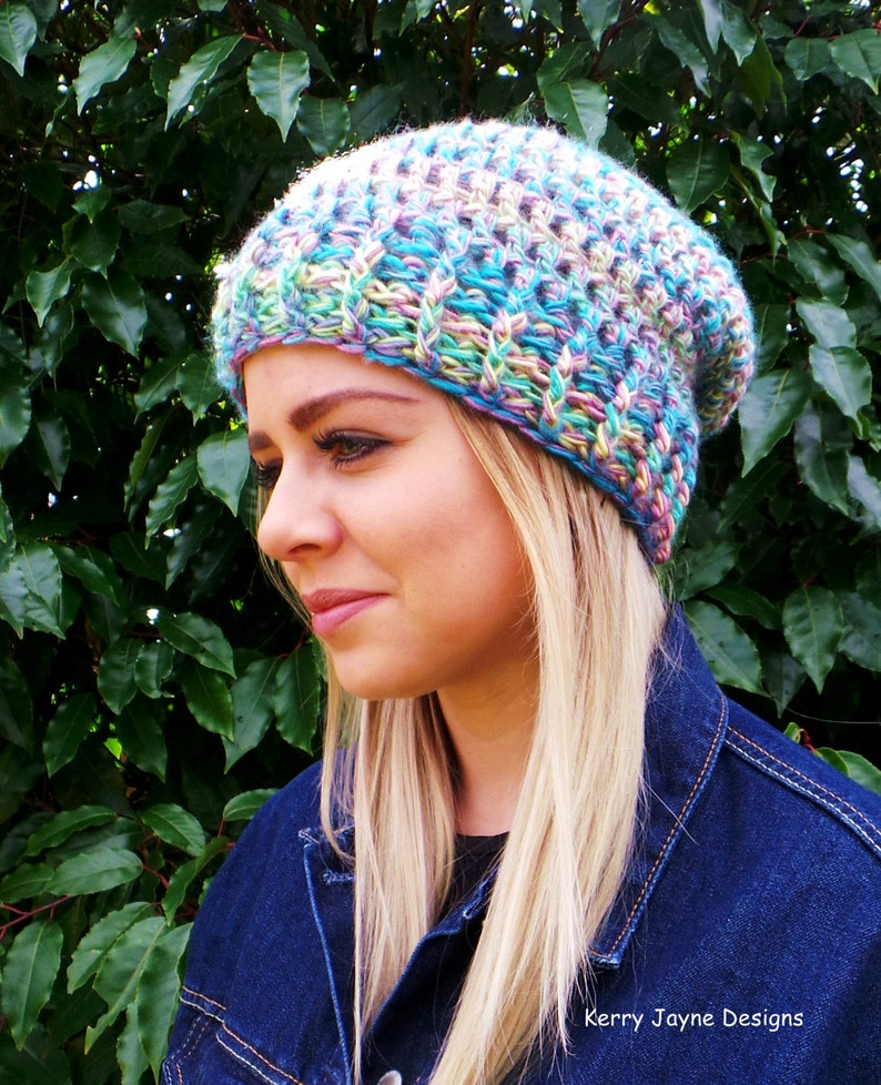 2b9b84bd56b WOMENS SLOUCH BEANIE Crochet pattern Quick and Easy Slouch